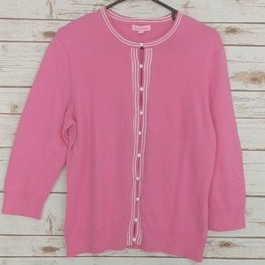 Lilly Pulitzer Pink Pearl Button Cardigan Sweater